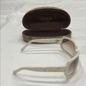 White rhinestone Coach Sunglasses with case.